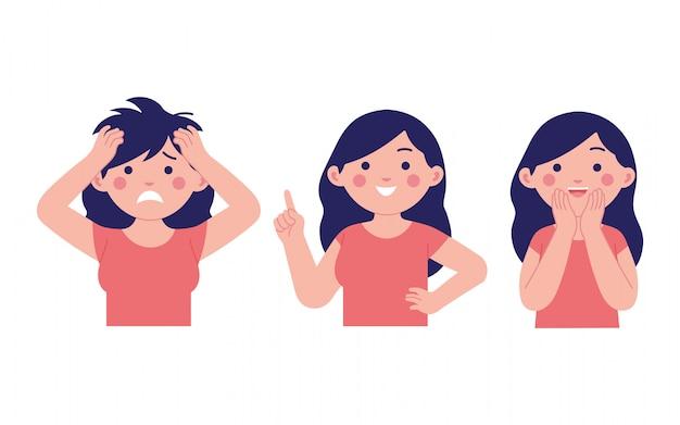Verschillende meisjes uitdrukking, blij, verrast en geschokt Premium Vector