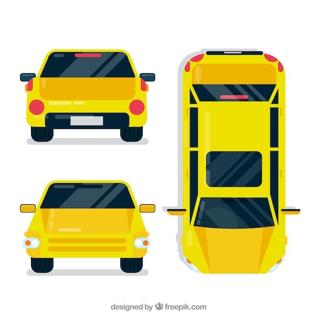 Verschillende meningen van gele auto Gratis Vector