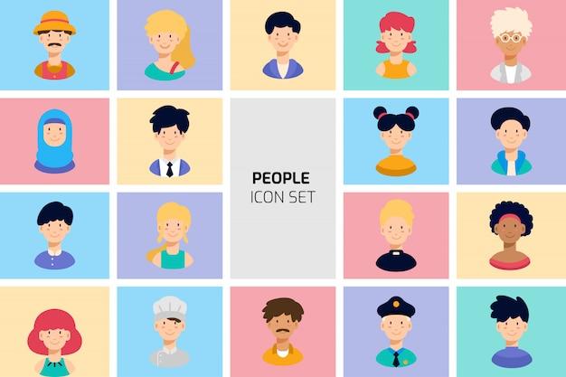 Verschillende mensen avatar icon set collection. platte cartoon vectorillustratie Premium Vector