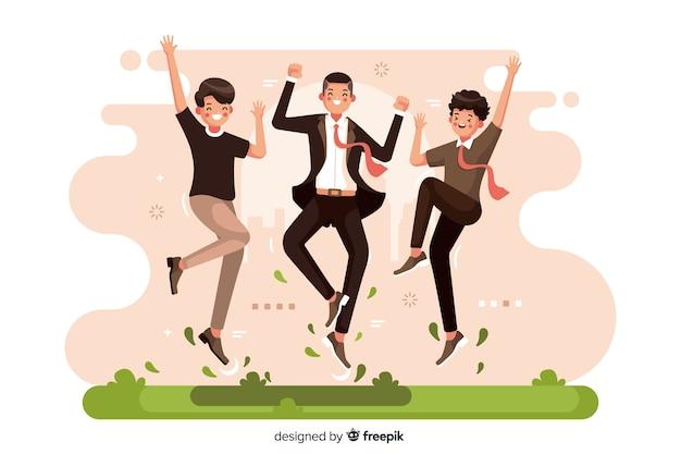 Verschillende mensen samen geïllustreerd springen Gratis Vector