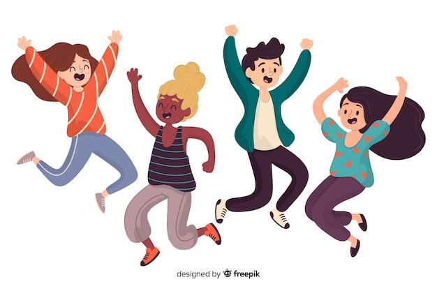 Verschillende mensen springen samen Gratis Vector