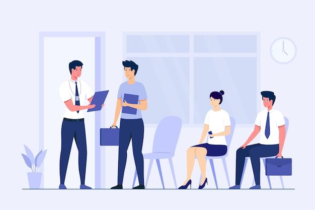 Verschillende mensen wachten op hun beurt in een sollicitatiegesprek Premium Vector