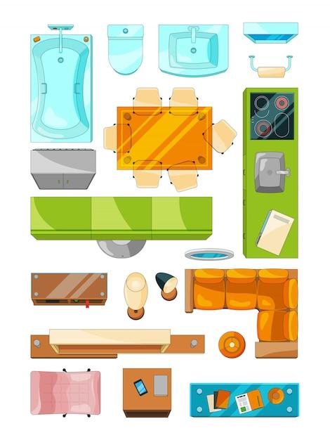 Verschillende meubels ingesteld voor de indeling van het appartement Premium Vector