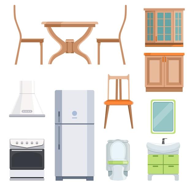 Verschillende meubels voor woonkamer en keuken. Premium Vector