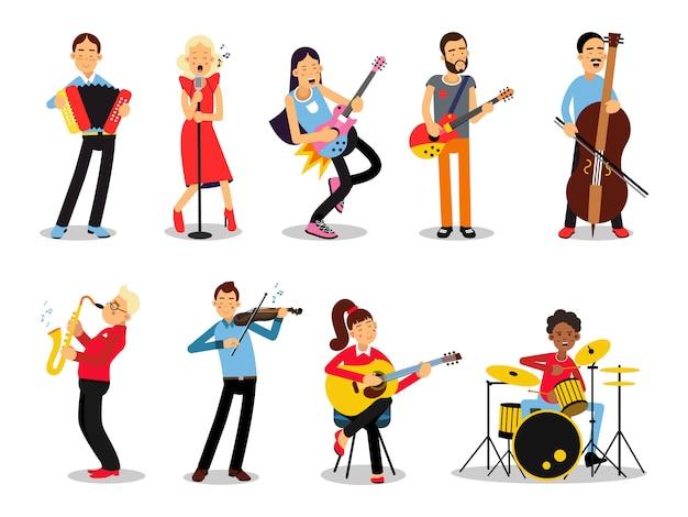 Verschillende muzikanten, personages in vlakke stijl illustratie Premium Vector