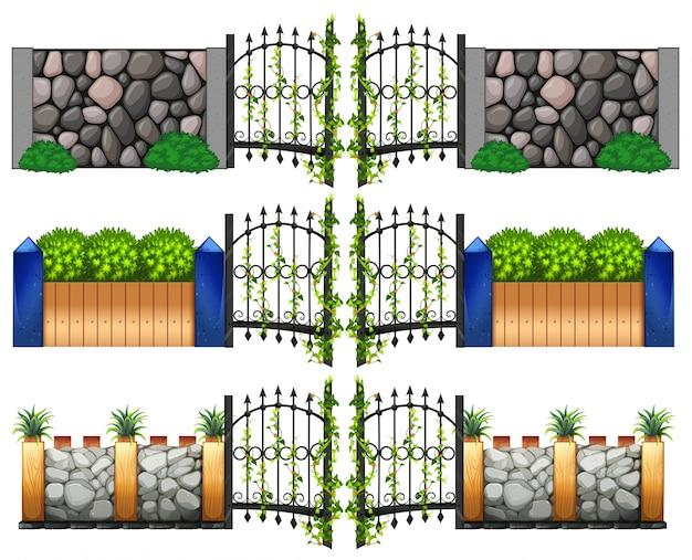 Verschillende ontwerp voor poorten en muren Gratis Vector