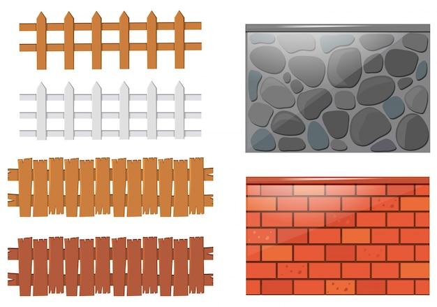 Verschillende ontwerpen van hekken en muren Gratis Vector