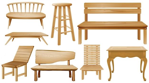 Verschillende ontwerpen van houten stoelen Gratis Vector
