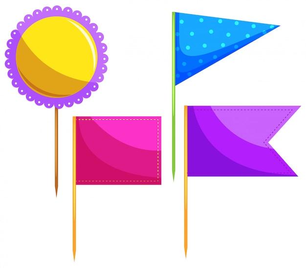 Verschillende ontwerpen van voedsel vlag Gratis Vector