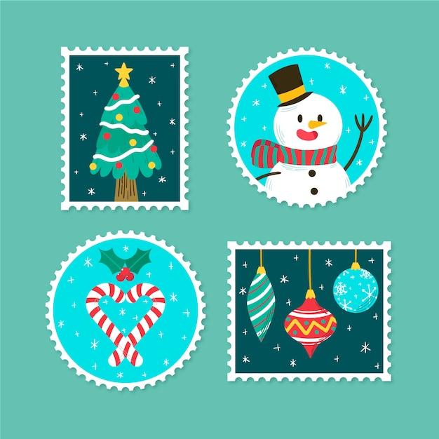 Verschillende ontwerpen voor handgetekende kerstzegels Gratis Vector