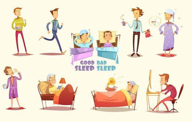 Verschillende oorzaken van goede en slechte slaap vlakke pictogrammen Gratis Vector