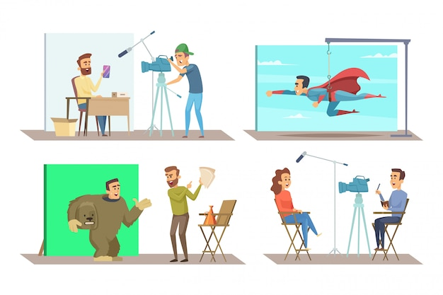 Verschillende personages bij het maken van films Premium Vector