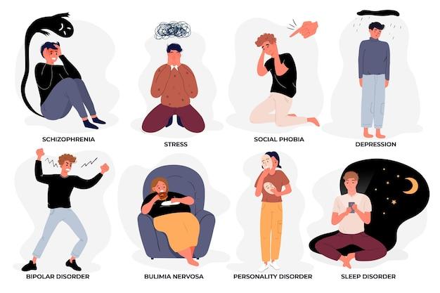 Verschillende psychische stoornissen concept Gratis Vector