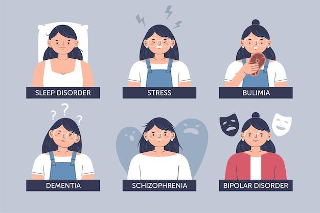 Verschillende psychische stoornissen illustratie Gratis Vector