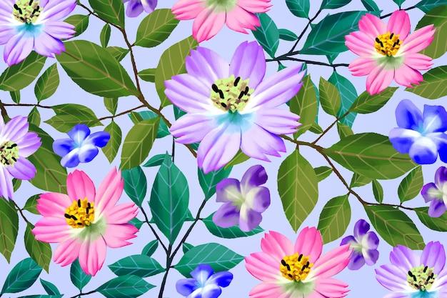 Verschillende realistische kleurrijke bloemenachtergrond Gratis Vector