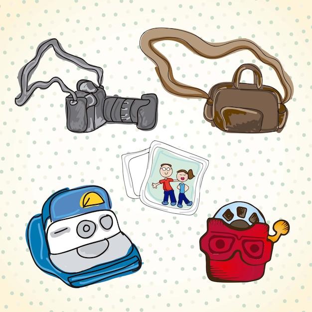 Verschillende reeks objecten voor fotografie Premium Vector