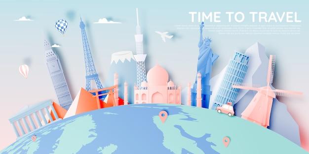 Verschillende reisattracties in papieren kunststijl Premium Vector