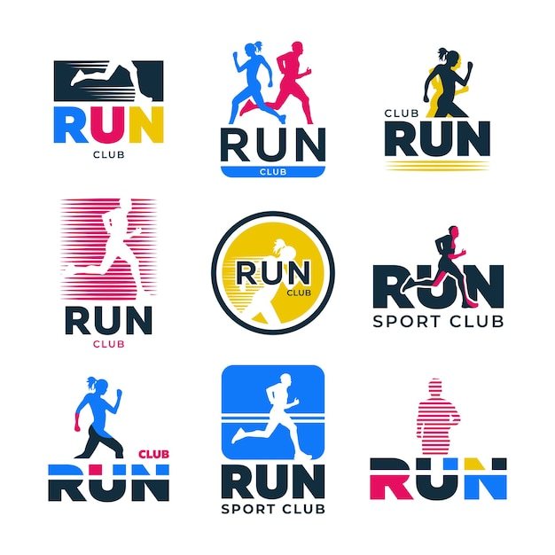 Verschillende retro lopende platte logo set. kleurrijke silhouetten van hardlopers en atleten joggen marathon vector illustratie collectie. sportclub, actieve levensstijl en lichaamsbeweging Gratis Vector