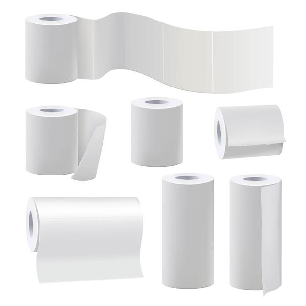 Verschillende rollen blanco toiletpapier. illustratie set papierrol voor badkamer en keukenhanddoek Premium Vector