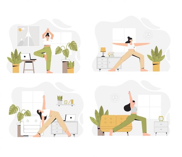 Verschillende scènes van yogatraining, een vrouw die yoga thuis in een woonkamer doet. Premium Vector