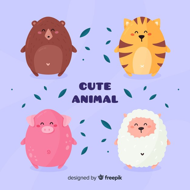 Verschillende schattige dieren pack Gratis Vector