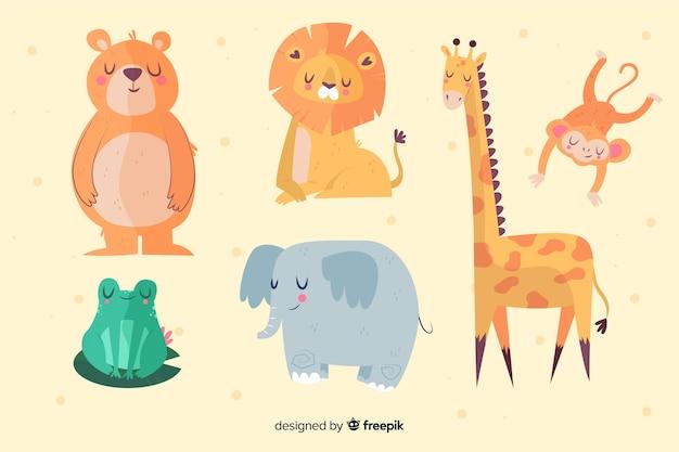 Verschillende schattige geïllustreerde dieren collectie Gratis Vector
