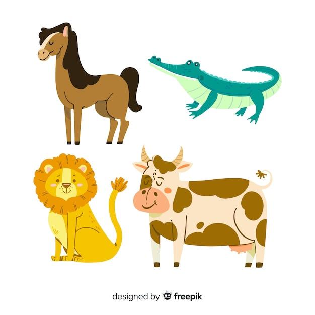 Verschillende schattige geïllustreerde dieren pack Gratis Vector