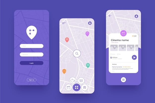 Verschillende schermen voor mobiele locatie-app Premium Vector