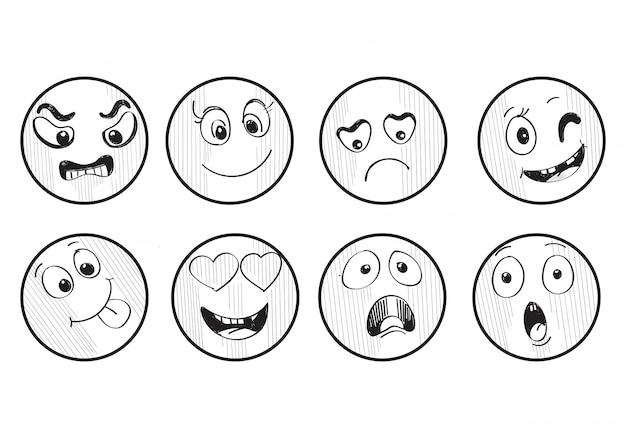 Verschillende set hand getrokken smileys schetsen Gratis Vector