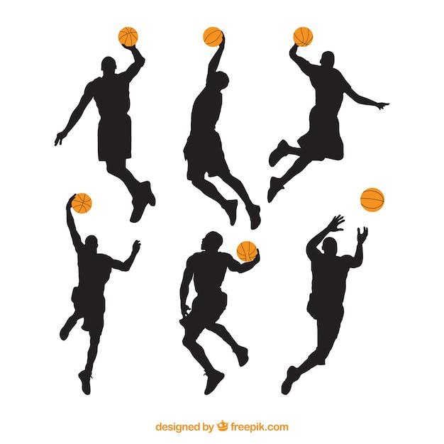 Verschillende silhouetten van basketbalspelers Gratis Vector