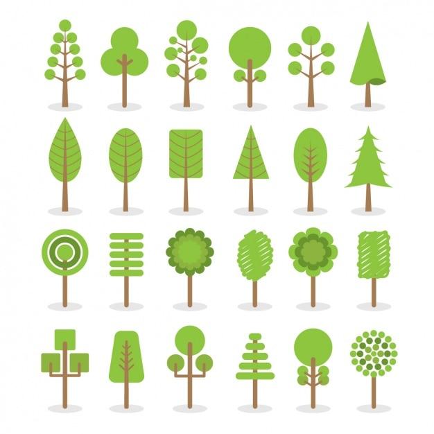 Verschillende soorten bomen Gratis Vector