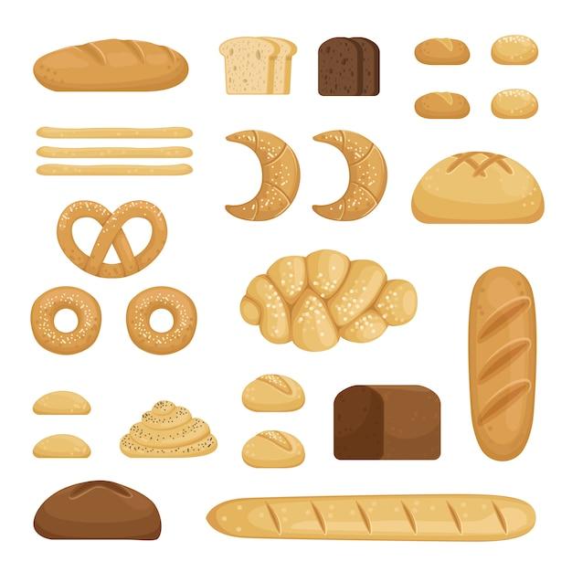 Verschillende soorten brood Premium Vector