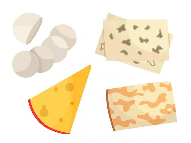 Verschillende soorten kaas. Premium Vector