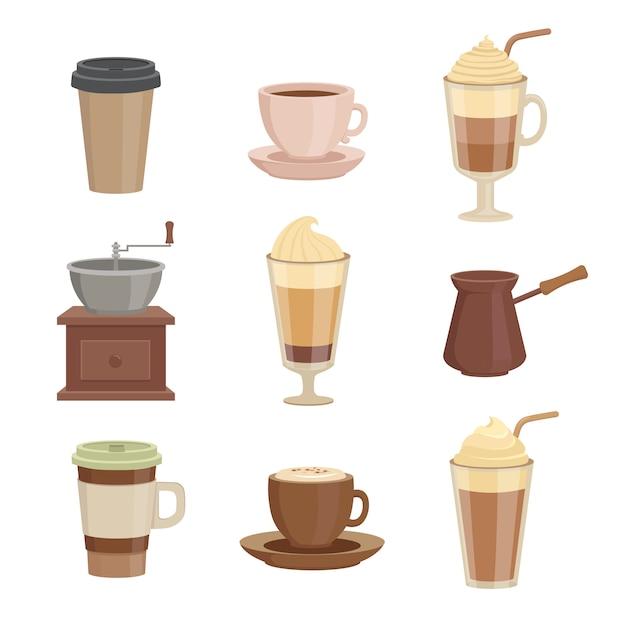 Verschillende soorten koffie Premium Vector