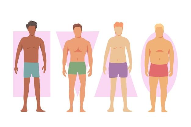 Verschillende soorten mannelijke lichaamsvormen Gratis Vector
