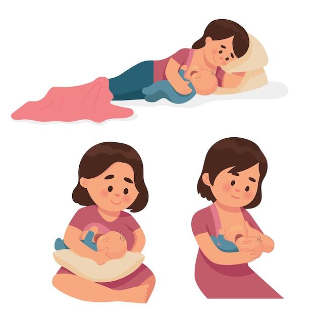 Verschillende soorten moeders die borstvoeding geven aan baby's Premium Vector