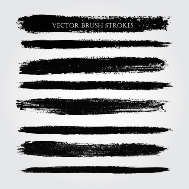 Verschillende soorten penseelstreken Gratis Vector
