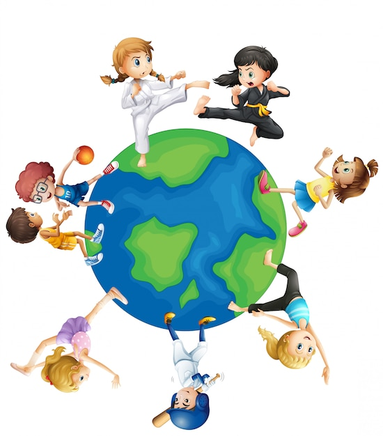 Verschillende soorten sporten over de hele wereld Gratis Vector
