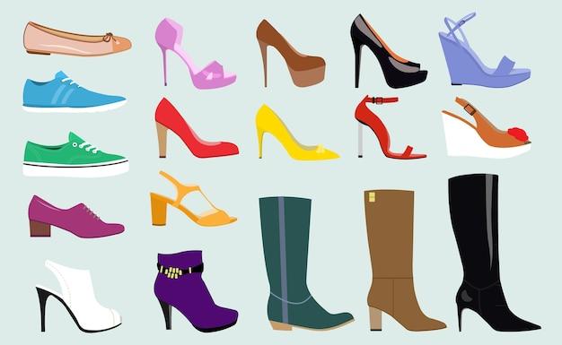 Verschillende soorten trendy damesschoenen. Premium Vector