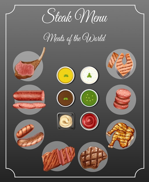 Verschillende soorten vlees en sauzen op biefstukmenu Premium Vector