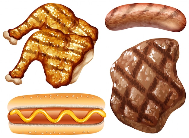 Verschillende soorten vlees gegrild Premium Vector