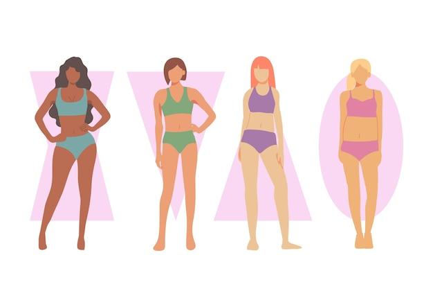 Verschillende soorten vrouwelijke lichaamsvormen Gratis Vector