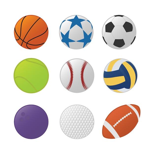 Verschillende sport bal set collectie Premium Vector