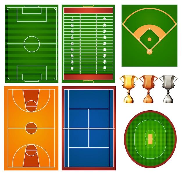 Verschillende sportvelden en trofee Gratis Vector