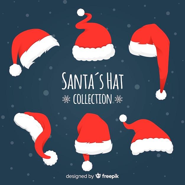 Verschillende stijlen santa's hoeden pack Gratis Vector
