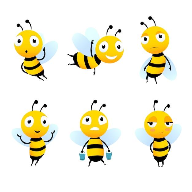 Verschillende stripfiguren van bijen met honing Premium Vector