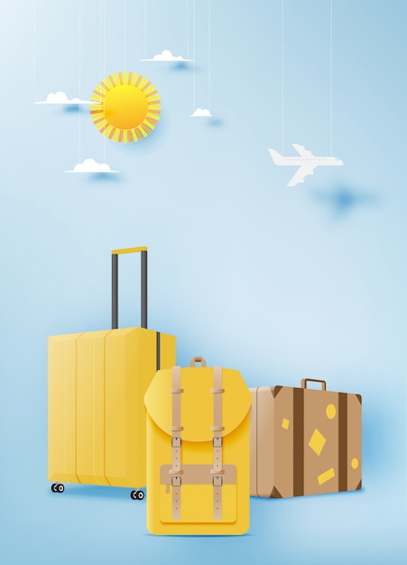 Verschillende tas en bagage voor op reis Premium Vector