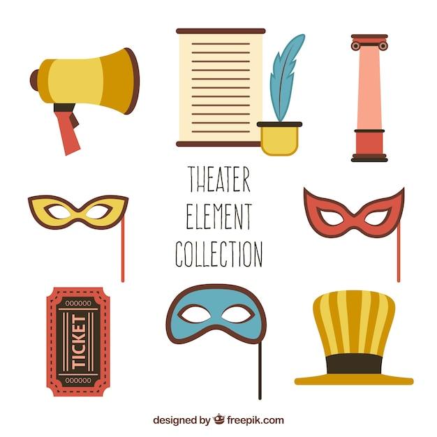 Verschillende theater objecten in plat design Gratis Vector
