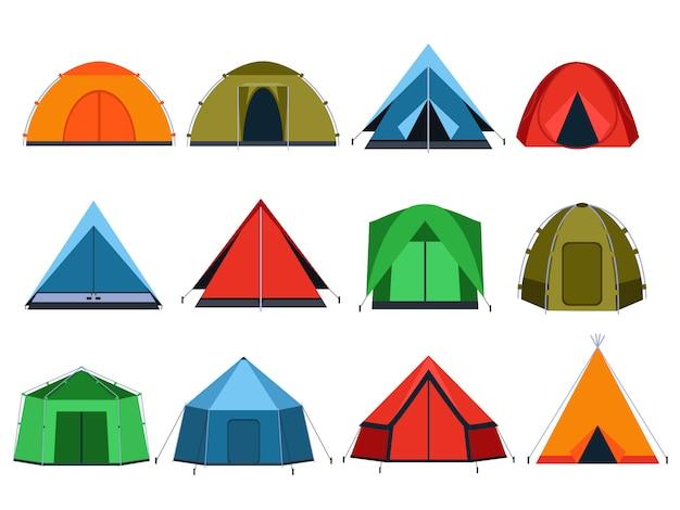 Verschillende toeristententen om te kamperen. vectorafbeeldingen in vlakke stijl Premium Vector
