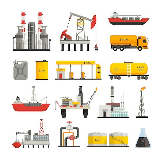 Verschillende transportconstructies en fabrieken Gratis Vector
